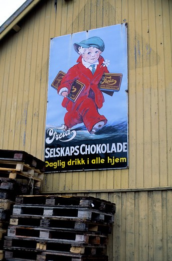 Stock Photo: 4168-4370 Norway, Finnsnes, Poster Advertising Chocolate