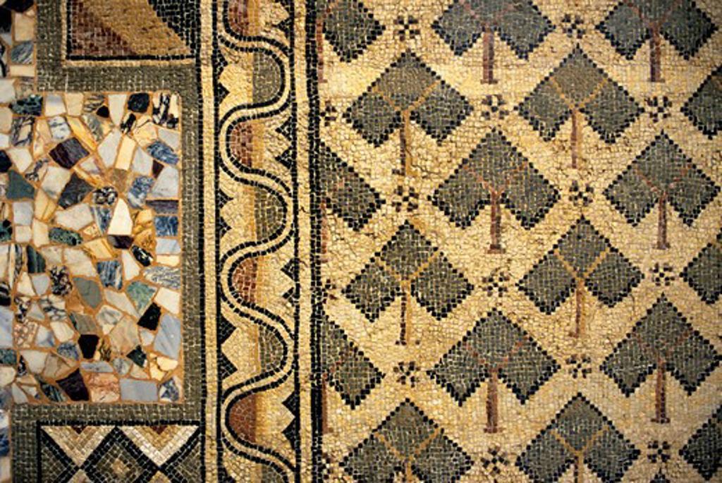 Libya, Near Tripoli, Sabratha, Roman Museum, Mosaic : Stock Photo