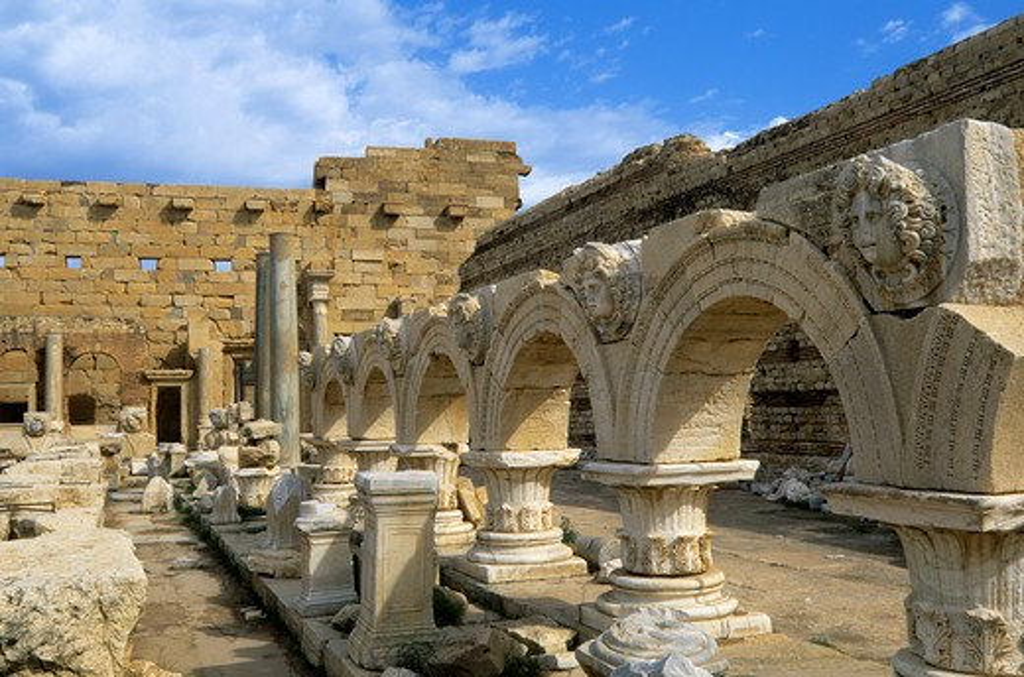 Libya, Near Tripoli, Leptis Magna, Severan Forum, Arches With Medusa Heads : Stock Photo