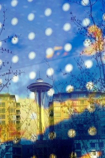 usa, washington state, seattle, olympic sculpture park, seattle cloud cover, glass bridge by teresita fernandez, space needle : Stock Photo