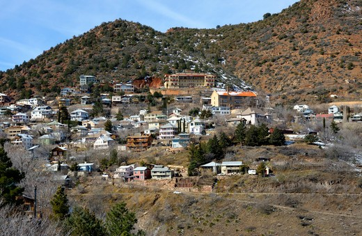 Stock Photo: 4168-5285 usa, arizona, verde valley, view of old mining town of jerome