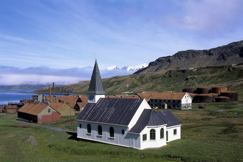 ANTARCTICA, SOUTH GEORGIA, GRYTVIKEN WHALING STATION, CHURCH : Stock Photo