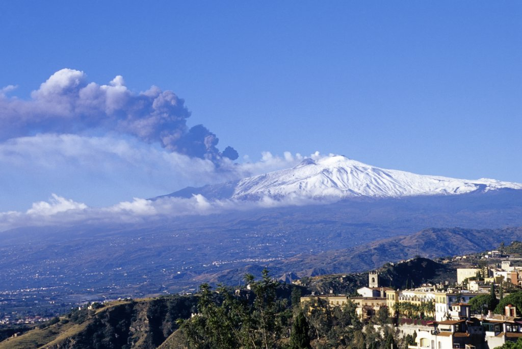 Stock Photo: 4168-7754 Italy, Sicily, Taormina, Mount Etna erupting