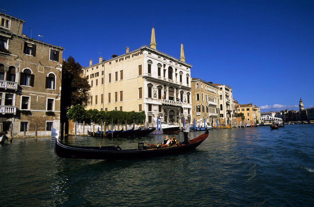 Italy, Venice, Gondola on Grand Canal : Stock Photo