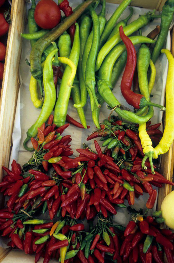 Stock Photo: 4168-7891 Austria, Salzburg, Marketplace, Chili Peppers