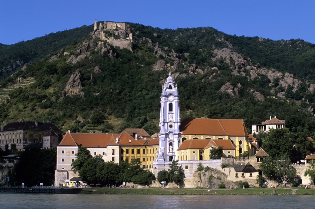 Austria, Wachau Valley, Durnstein Abbey and castle : Stock Photo