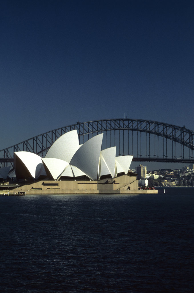Stock Photo: 4168-8360 Australia, Sydney, Opera House With Harbor Bridge, View From Royal Botanical Gardens