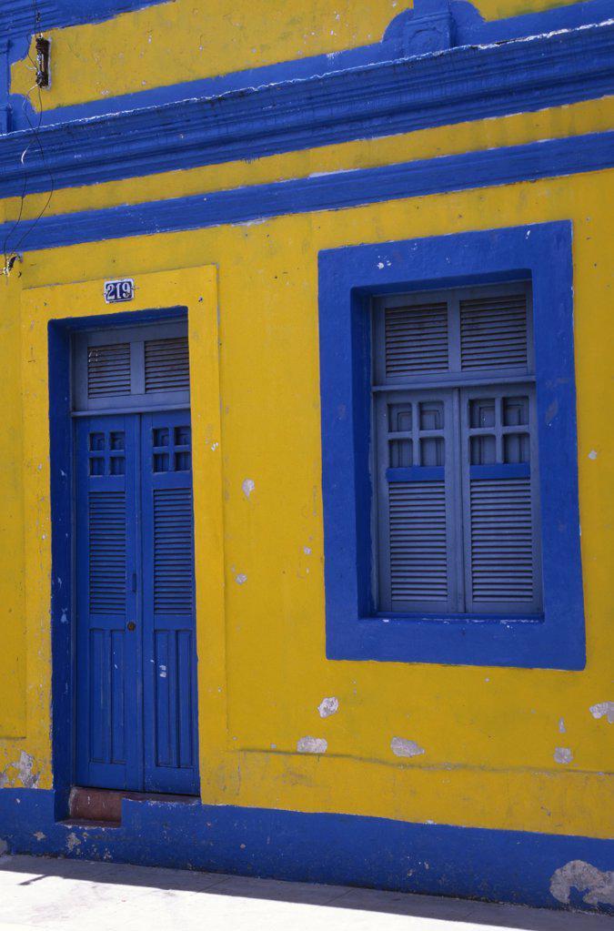 Brazil, Near Recife, Olinda, Blue and Yellow House : Stock Photo
