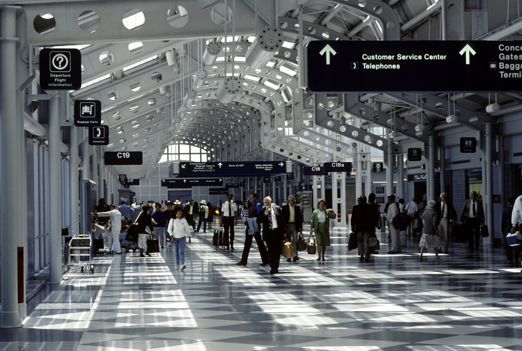 Stock Photo: 4168-8512 USA, Illinois, Chicago, O'Hare International Airport, Interior