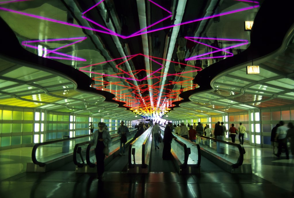 Stock Photo: 4168-8520 USA, Illinois, Chicago, O'Hare International Airport, Interior illuminated at night