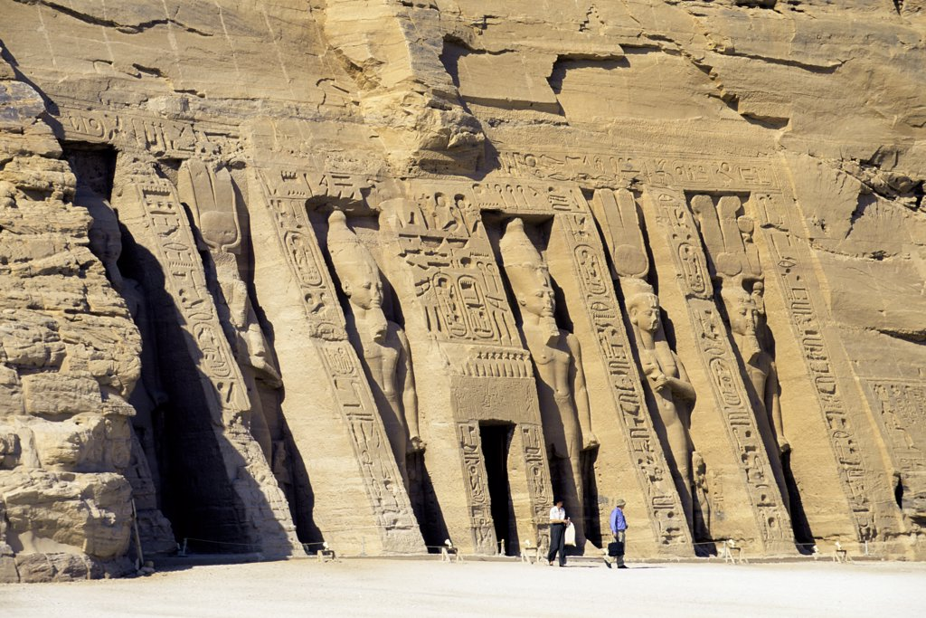 Egypt, Abu Simbel, Small Temple of Abu Simbel, Facade, Ramses II And Nefertari-Hathor statues : Stock Photo
