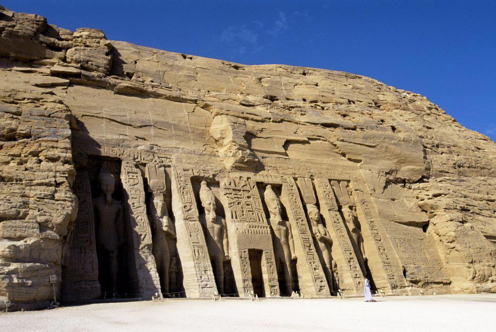 Egypt, Abu Simbel, Small Temple of Abu Simbel, Facade, Ramses II And Nefertari-Hathor statues : Stock Photo