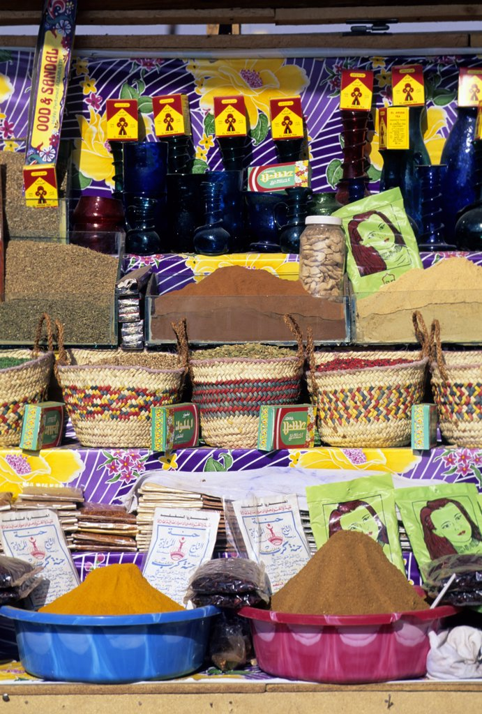 Egypt, Aswan, Spices For Sale in Market : Stock Photo