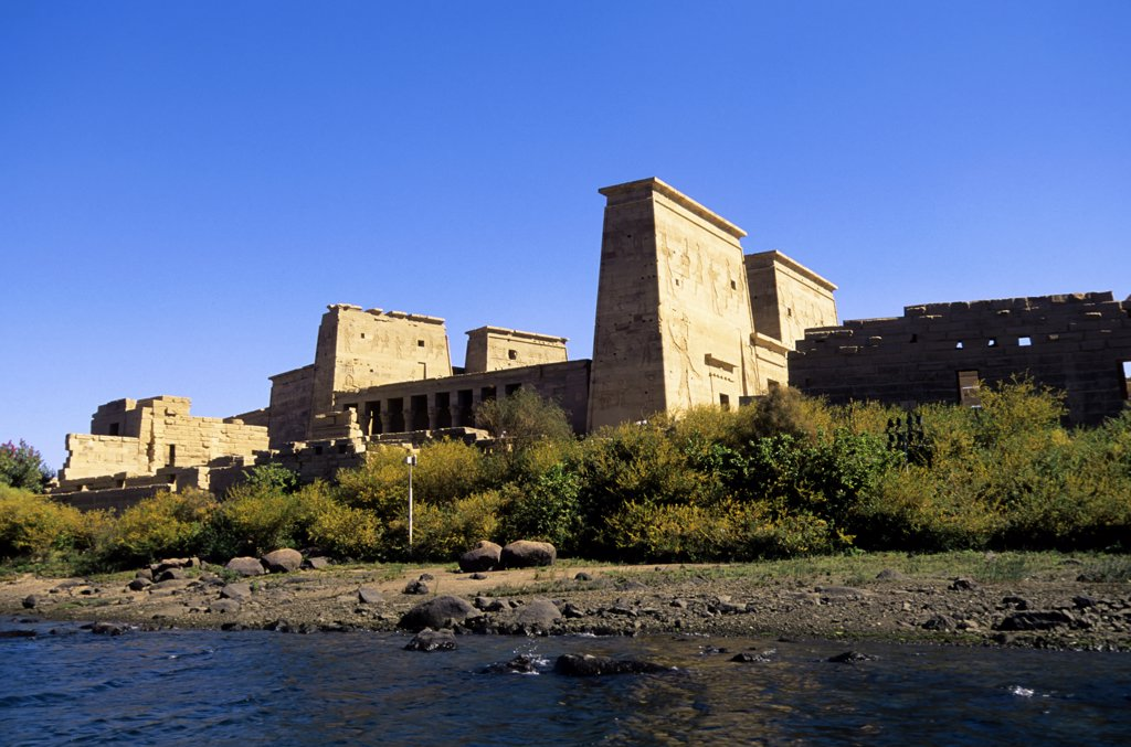 Stock Photo: 4168-8550 Egypt, Aswan, Nile River, Agilkia Island, View of Temple of Philae