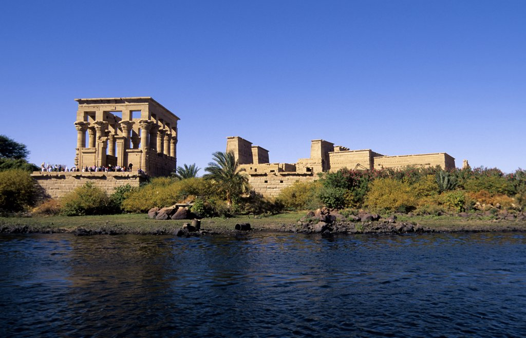 Stock Photo: 4168-8553 Egypt, Aswan, Nile River, Agilkia Island, View of Temple of Philae