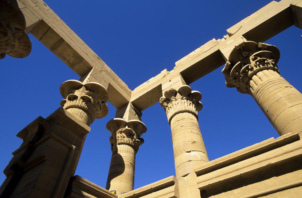 Egypt, Aswan, Nile River, Agilkia Island, Temple of Isis, Columns against clear sky : Stock Photo