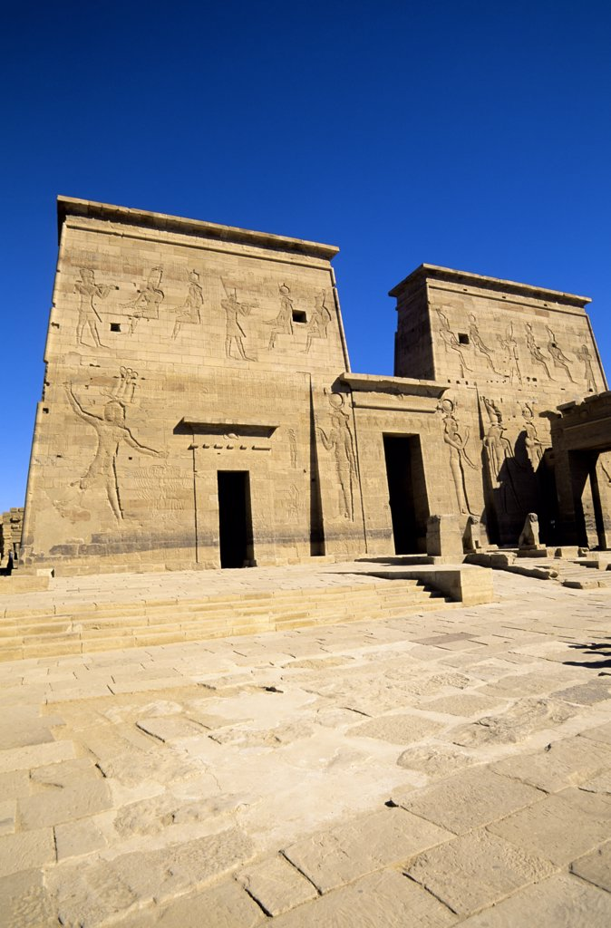 Egypt, Aswan, Nile River, Agilkia Island, Philae, Temple of Isis, First Pylon : Stock Photo
