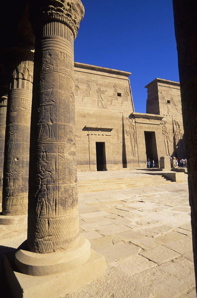 Stock Photo: 4168-8556 Egypt, Aswan, Nile River, Agilkia Island, Philae, West Colonnade and First Pylon