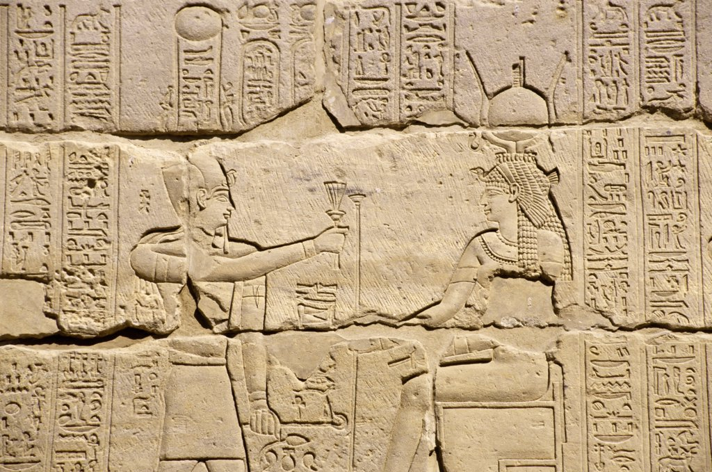 Stock Photo: 4168-8560 Egypt, Aswan, Nile River, Agilkia Island, Philae, Relief Carvings Depicting Offering To Hathor
