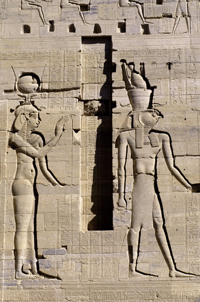 Stock Photo: 4168-8563 Egypt, Aswan, Nile River, Agilkia Island, Philae, Relief Carving