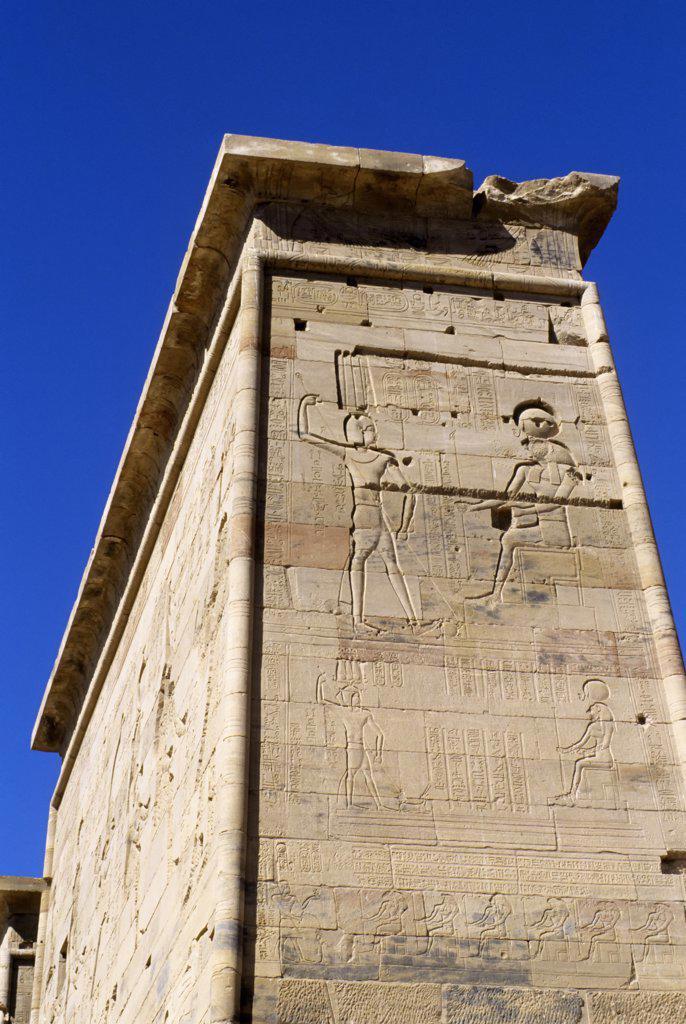 Egypt, Aswan, Nile River, Agilkia Island, Philae, Second Pylon, Relief Carving : Stock Photo