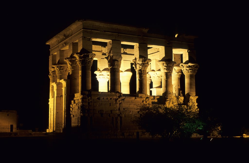 Stock Photo: 4168-8570 Egypt, Aswan, Nile River, Agilkia Island, Philae, Kiosk of Trajan at Night