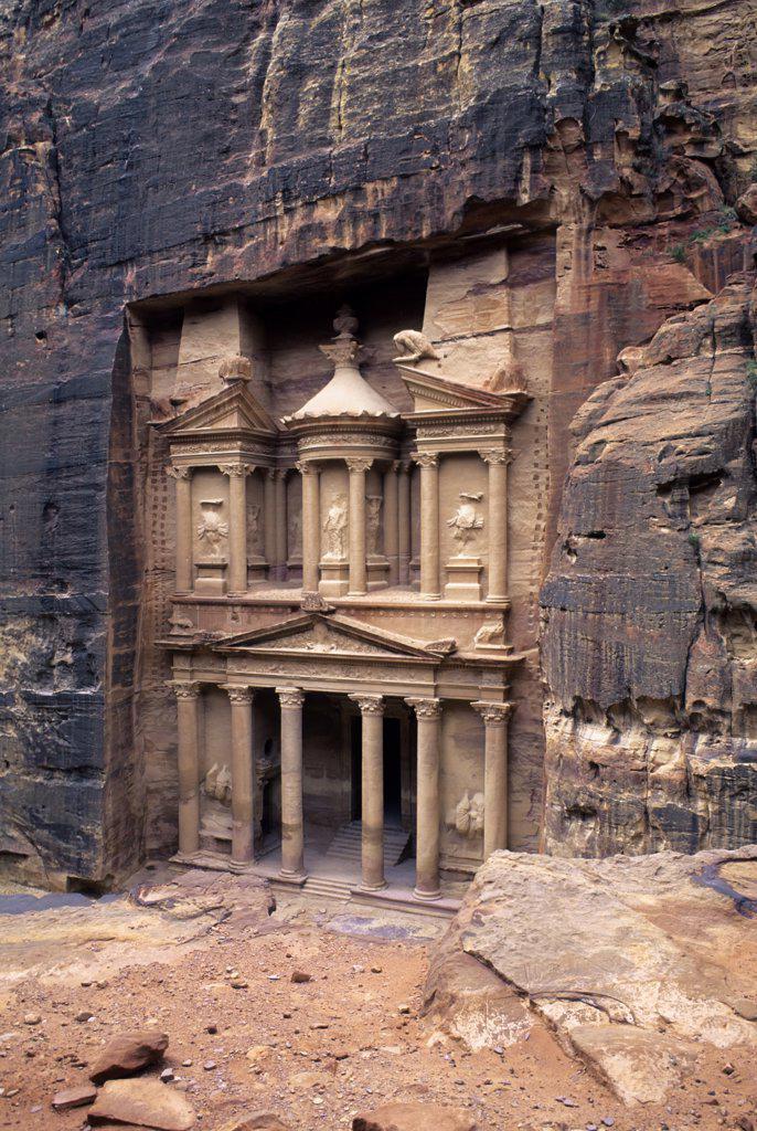 Stock Photo: 4168-8616 Jordan, Petra, Treasury of The Pharaoh (Al Khazneh Farun), 84-85 BC, View from Cliff