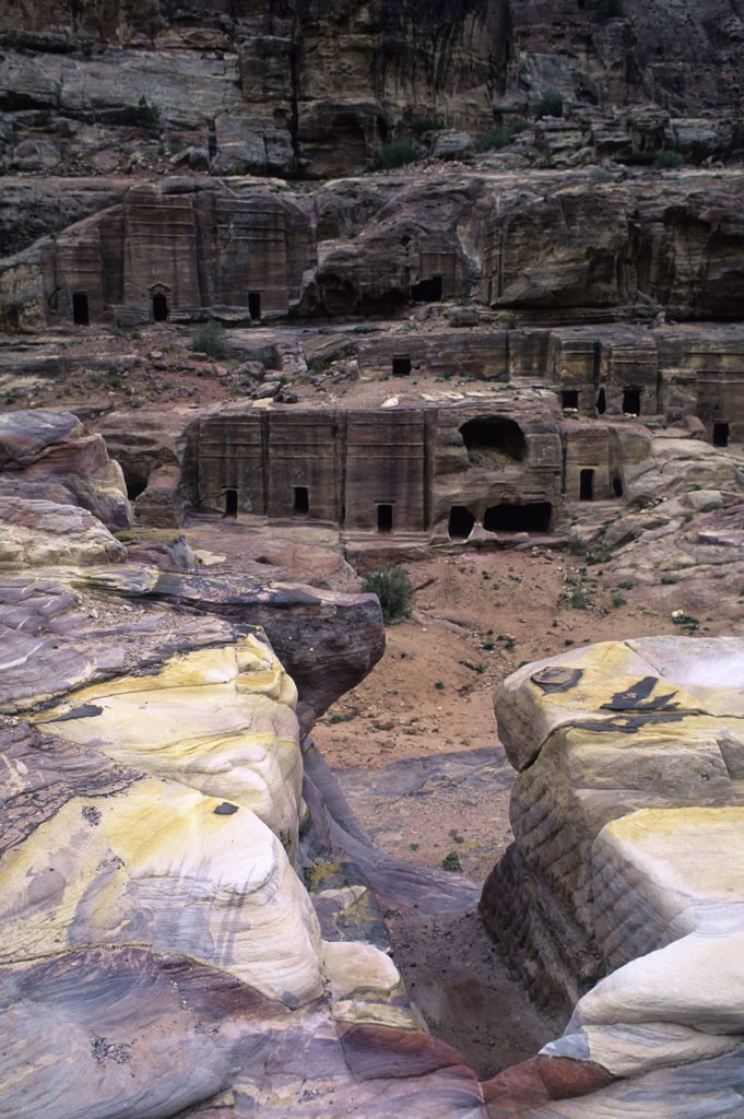 Stock Photo: 4168-8627 Jordan, Petra, Homesteads Carved Out of Rock