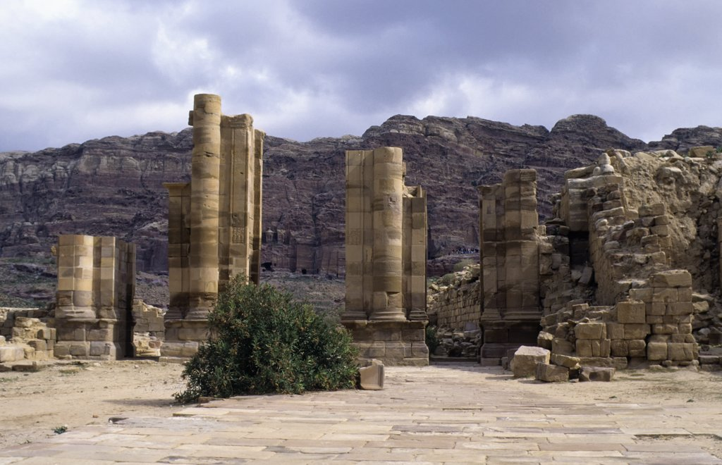 Jordan, Petra, Colonnaded Street : Stock Photo