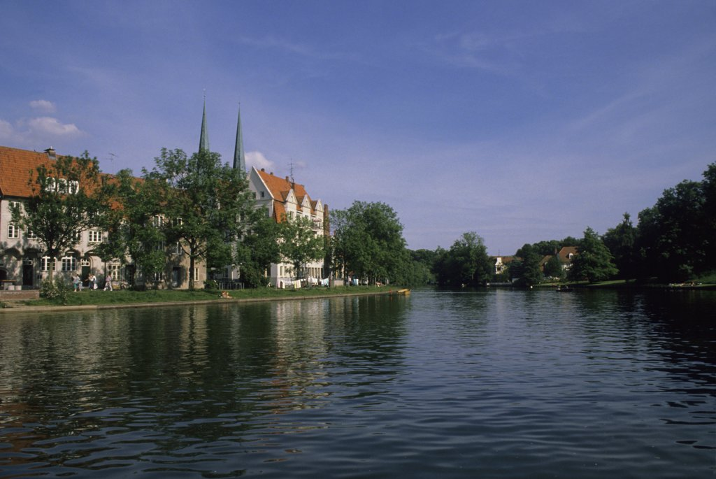 Stock Photo: 4168-8723 Germany, Lubeck, Upper Trave River with Local Houses And Cathedral