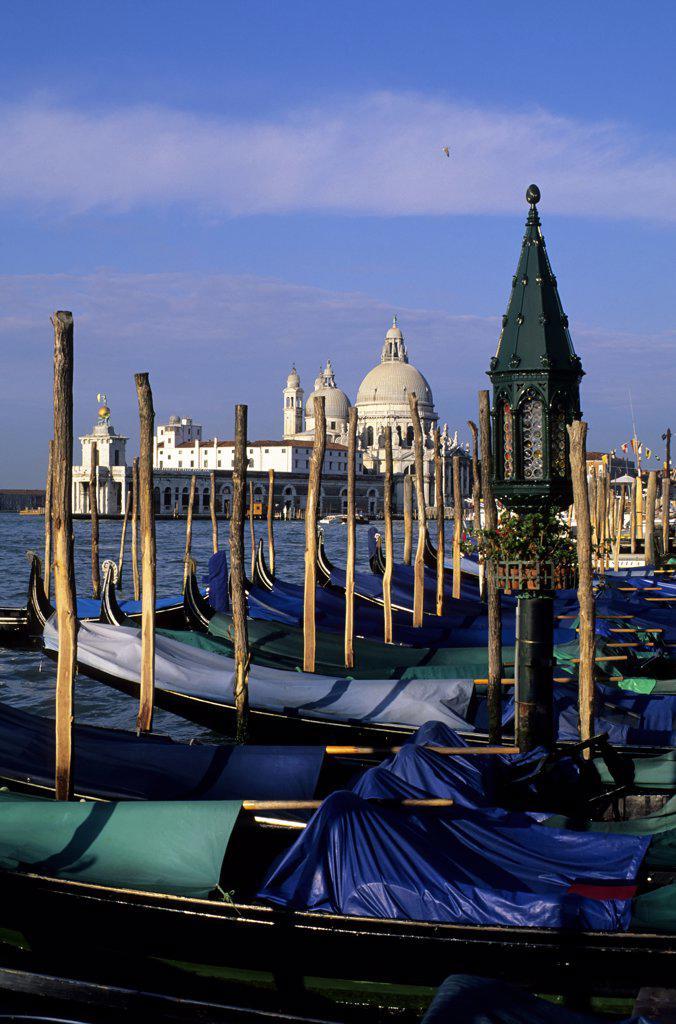 Stock Photo: 4168-8735 Italy, Venice, Canal San Marco, Venetian gondolas with Santa Maria Della Salute