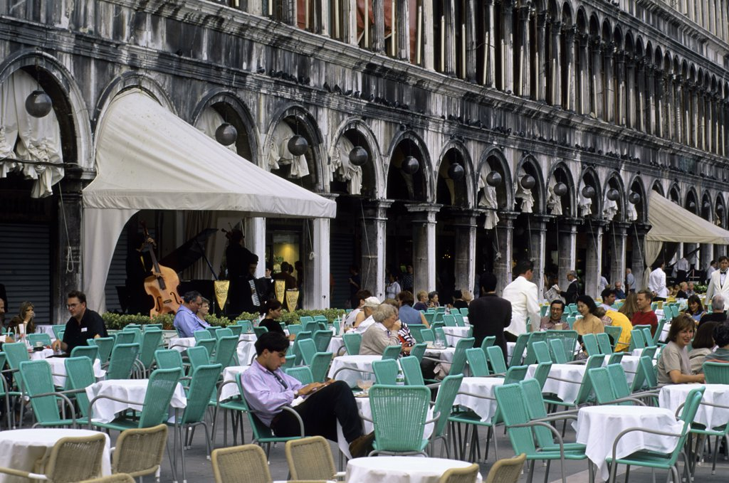 Italy, Venice, San Marco Quarter, St. Mark's Square, Cafe : Stock Photo