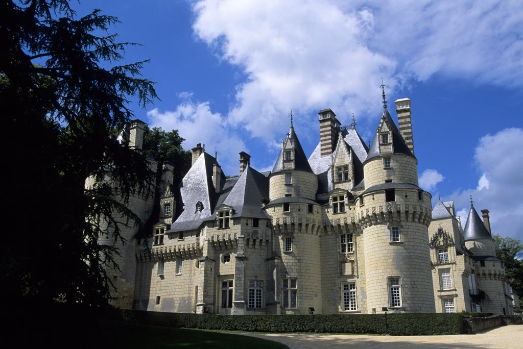 France, Loire Region, Near Chinon, Usse Chateaux, View of Castle : Stock Photo