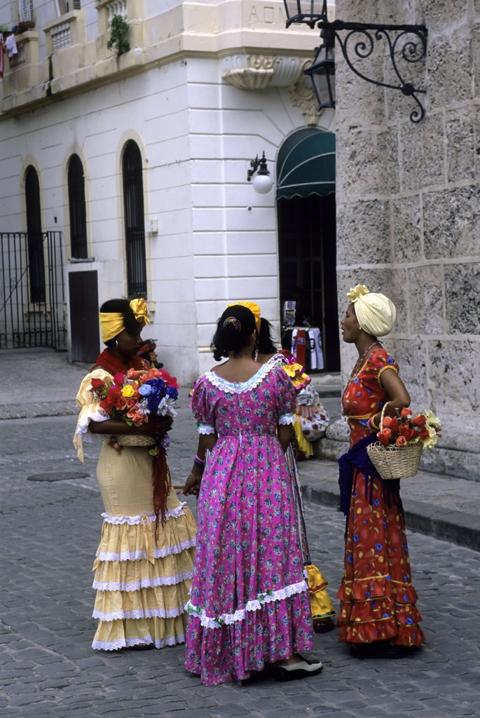 Cuba, Old Havana, Plaza De La Catedral, Women in colonial clothing : Stock Photo