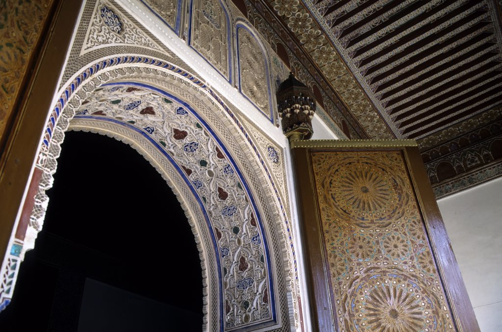 Morocco, Marrakech, Bahia Palace, Archway, Painted Door, Detail : Stock Photo