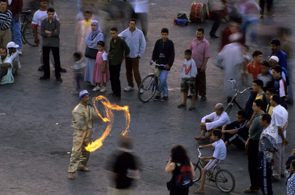 Morocco, Marrakech, City Square, Djemaa El-Fna, Traditional Acrobats, Juggling Fire Torches : Stock Photo