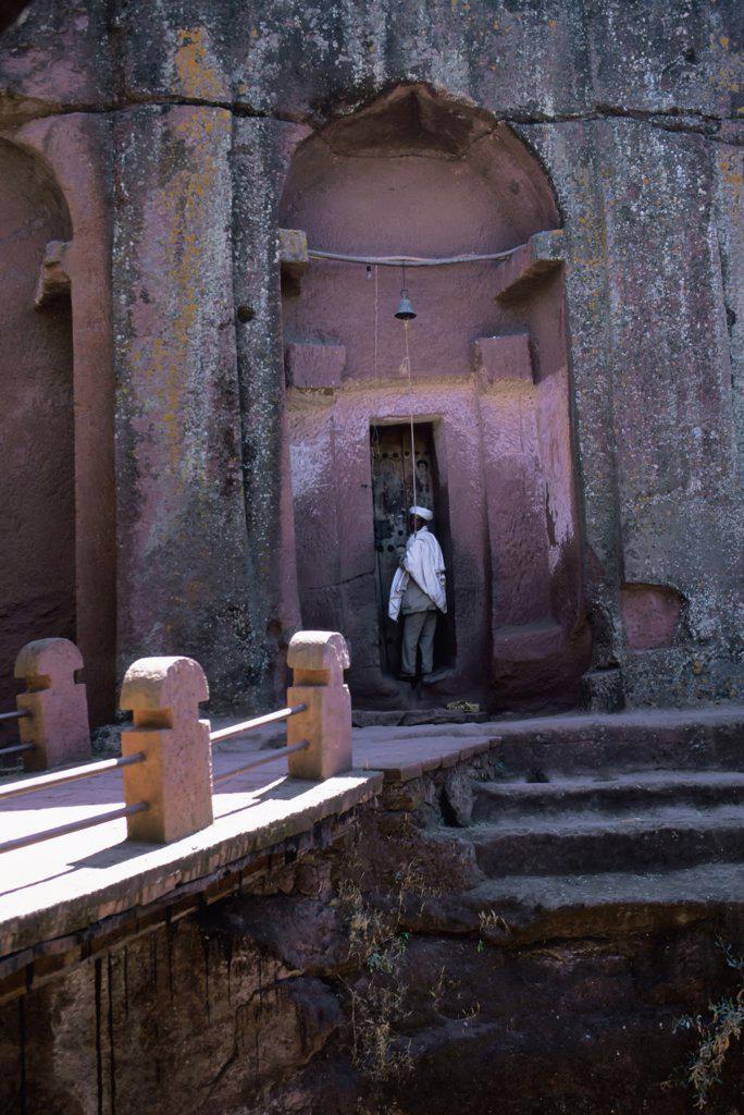 Stock Photo: 4168-9146 Ethiopia, Lalibela, Unesco World Heritage Site,  Church Carved Into Rock, Priest