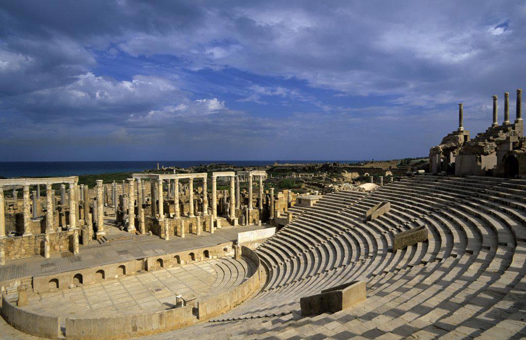 Stock Photo: 4168-9217 Libya, Near Tripoli, Leptis Magna, Theatre