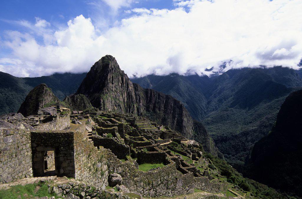Stock Photo: 4168-9409 Peru, Sacred Valley, Machu Picchu With Huayna Picchu In Background, Entrance