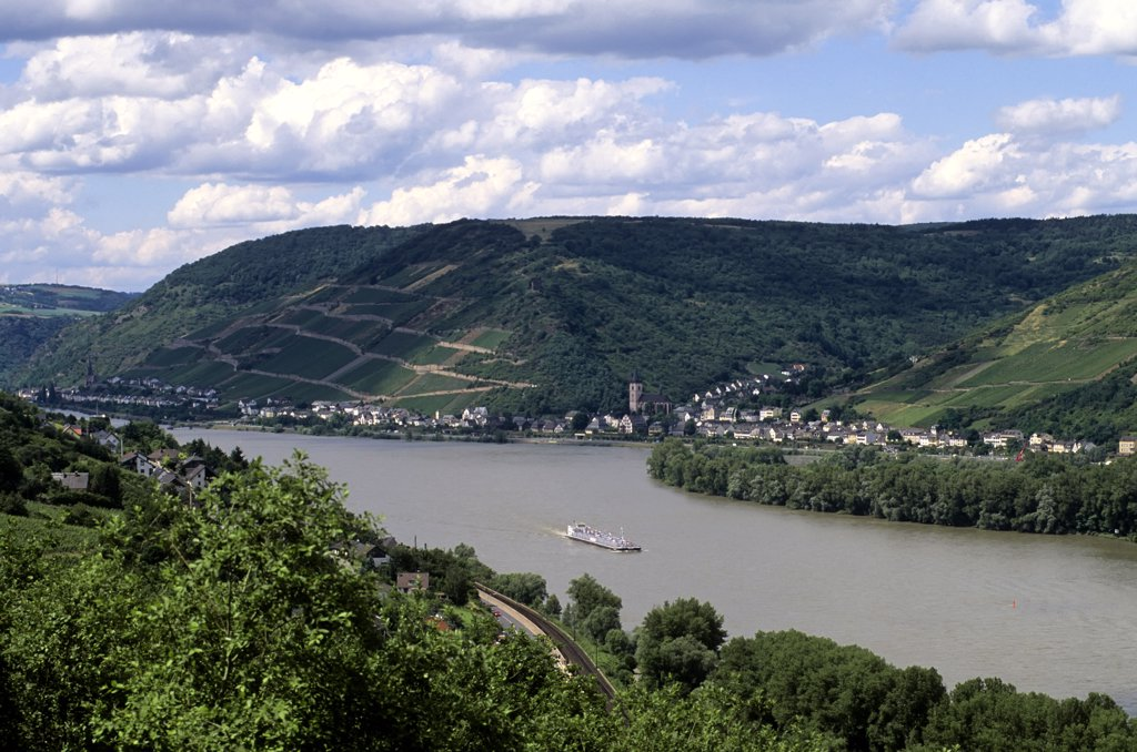 Stock Photo: 4168-9885 Germany, Rhine River, Trechtingshausen, Reichenstein Fortress, View Of Rhine River