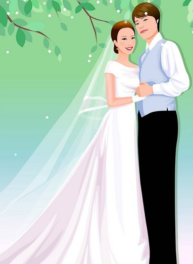 Stock Photo: 4170R-1020 Newlywed couple standing together and holding hands