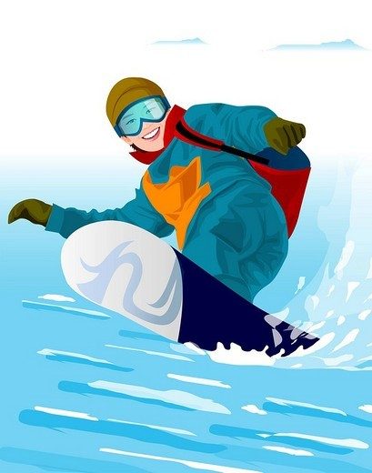 Low angle view of a woman snowboarding : Stock Photo