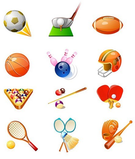 Different types of sports favors : Stock Photo
