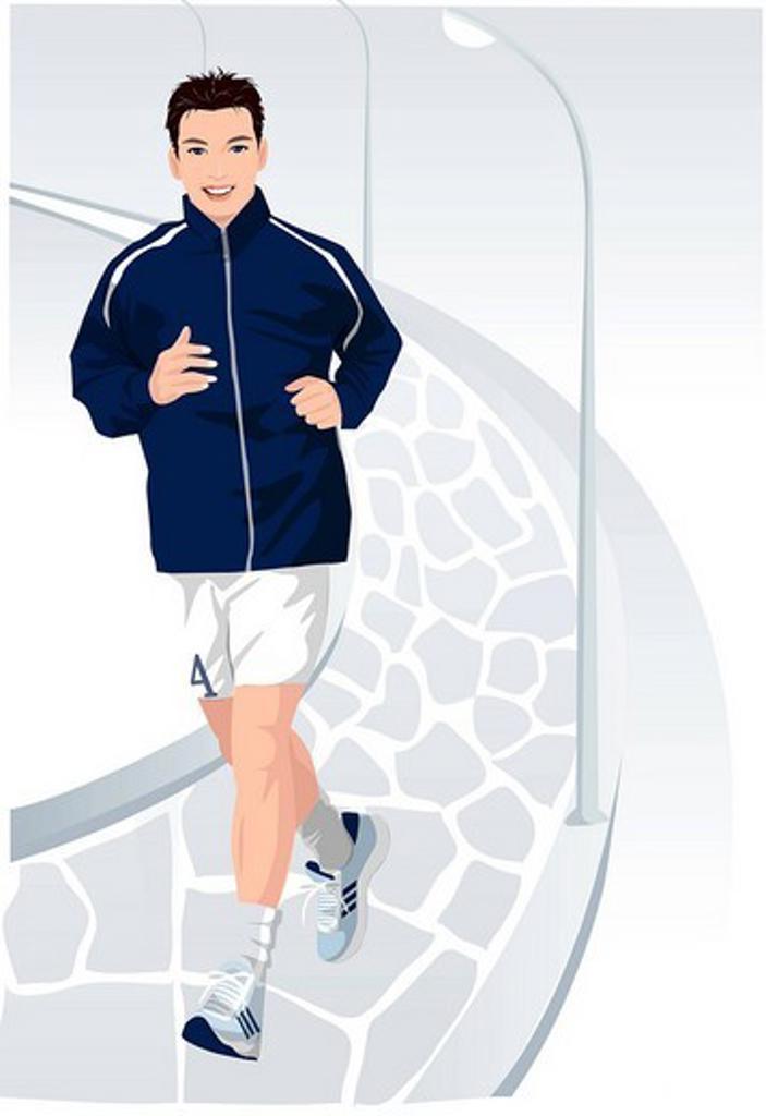 Portrait of a man jogging : Stock Photo