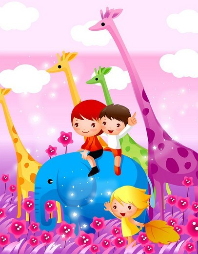 Stock Photo: 4170R-1132 Two boys sitting on an elephant with a girl standing beside them