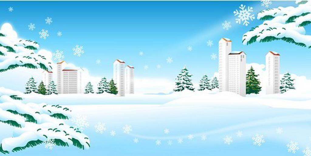 Skyscrapers on a polar landscape : Stock Photo