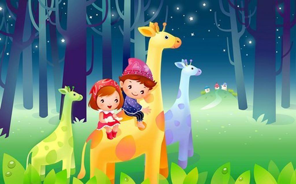 Boy and a girl riding a giraffe : Stock Photo