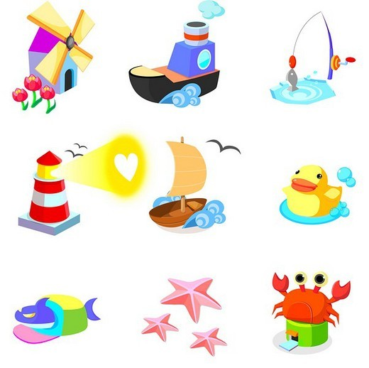 Stock Photo: 4170R-1271 Various animals with boats on a white background