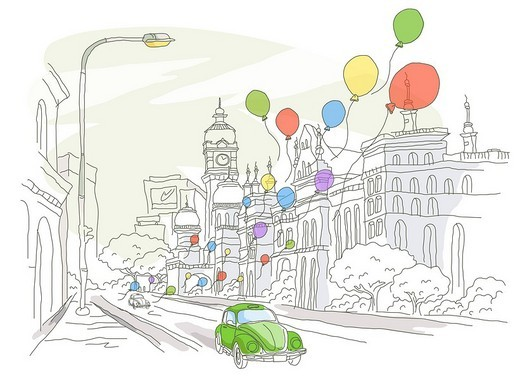 Stock Photo: 4170R-1374 Balloons flying over cars on the road