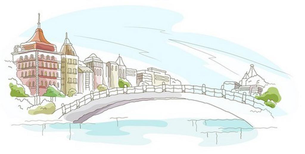 Stock Photo: 4170R-1392 Bridge over a river